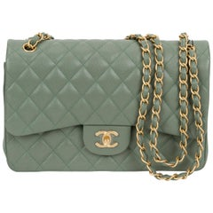 New Chanel Khaki Caviar Gold Double Flap