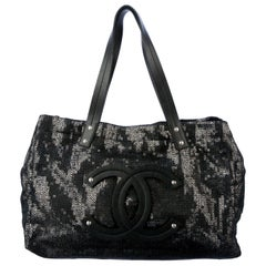 "NEW Chanel Leather CC  Logo Large ""Hidden Sequin"" Tote Shoulder Bag with Pouch"