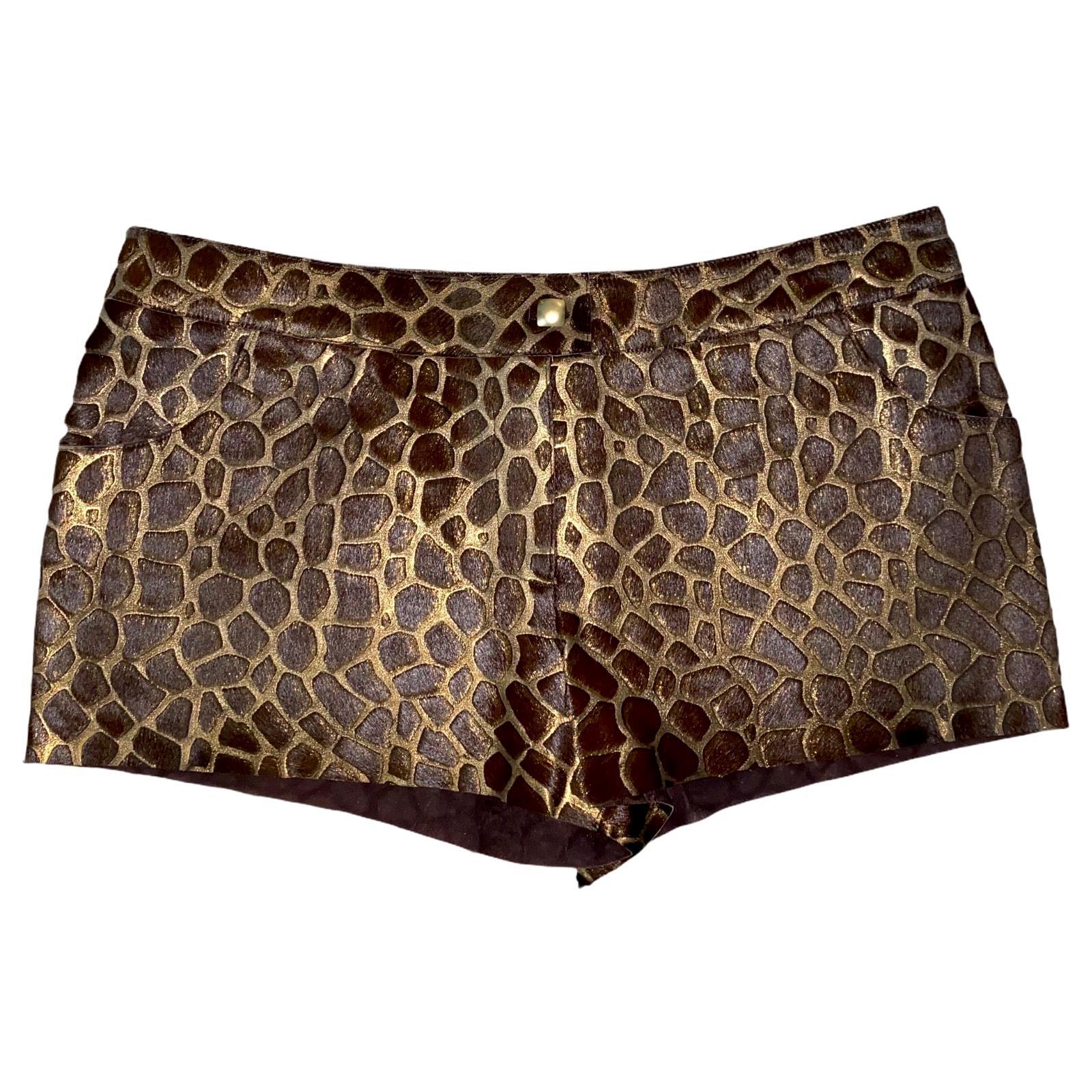 NEW Chanel Metallic Leather and Fur Giraffe Animal Print Safari Hot Pants Shorts