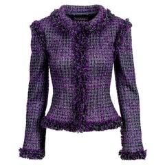 NEW Chanel Metallic Purple Fantasy Tweed Maison Lesage Fringed Jacket