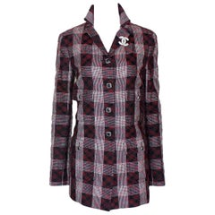 NEW Chanel Métiers d'Art Checked Tweed & Tulle Overlay Mesh Blazer Jacket Coat