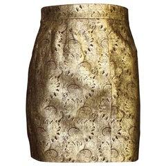 NEW Chanel Métiers d'Art Gold Metallic CC Logo Paisly Leather Skirt