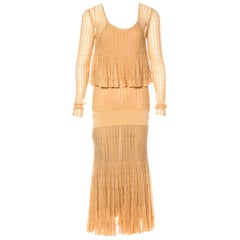 NEW Chanel Métiers d'Art Gold Metallic Crochet Knit Maxi Dress Gown