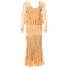 NEW Chanel Métiers d'Art Gold Metallic Crochet Knit Maxi Dress Gown