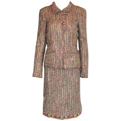 NEW Chanel Multicolor Fringed Fantasy Lesange Sequin Tweed Skirt Suit