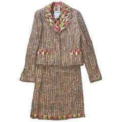 NEW Chanel Multicolor Fringed Fantasy Lesange Sequin Tweed Skirt Suit