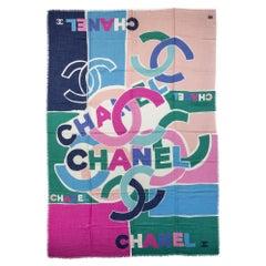 New Chanel Multicolor Logo Cashmere Shawl