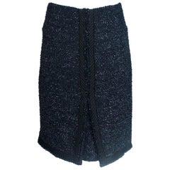NEW Chanel Navy & Black Pleated Tweed Skirt