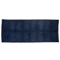 New Chanel Navy Cashmere Camellia Flower Shawl