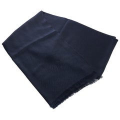 New Chanel Navy Cashmere Silk Shawl