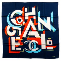 New Chanel Navy Letters Silk Scarf