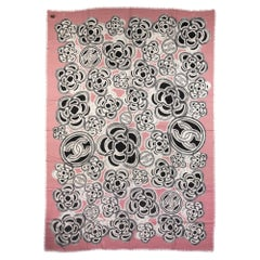 New Chanel Pink Camellia Cashmere Shawl