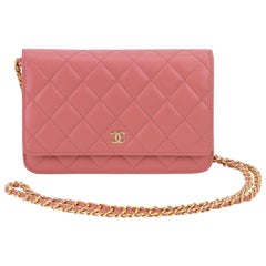 New Chanel PInk Caviar Wallet On A Chain Bag