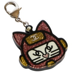 New Chanel Pink Lucite Cat Face Keychain