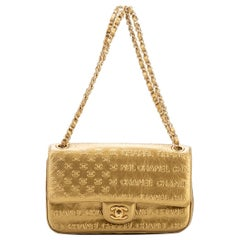 New Chanel Rare Gold Embossed Single Flap Bag