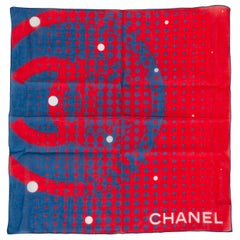 New Chanel Red & Blue Cotton Small Scarf