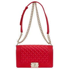 NEW Chanel Red Lambskin Gold Medium Boy Bag