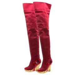 NEW Chanel Red Thigh High Fabric CC Logo Intarsia Wedge High Heeled Boots