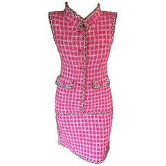 New Chanel S/S 2014 Runway Embellished Tweed Pink Dress