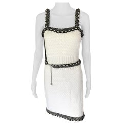 New Chanel S/S 2014 Runway Knit Chain Embellished Trim White Mini Dress