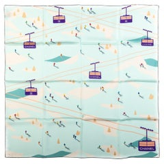 New Chanel  Seafoam Mountains Silk Scarf