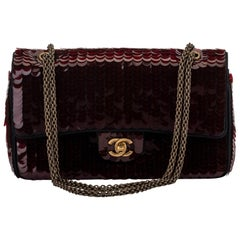 New Chanel Shanghai Burgundy Sequin Flap Bag