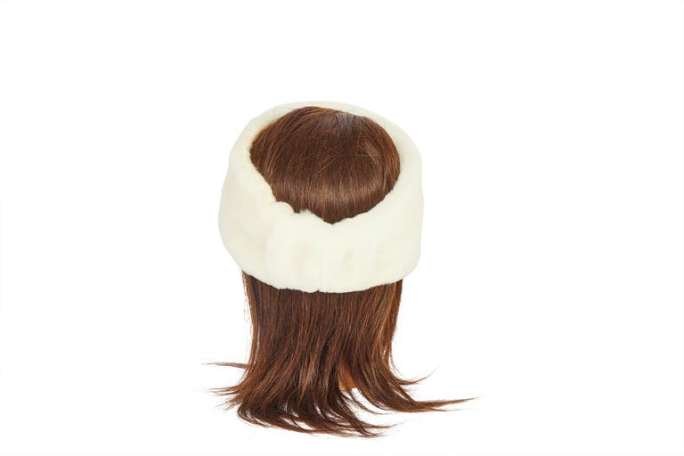 Women's New Chanel Shearling Headband White with Box For Sale
