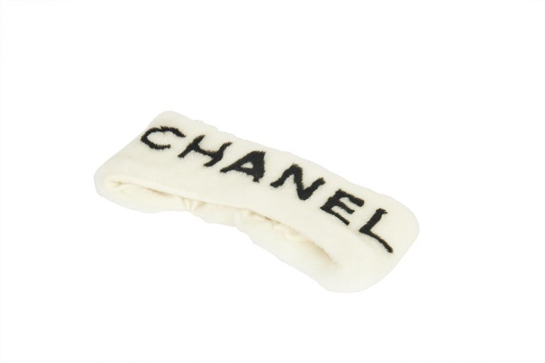 New Chanel Shearling Headband White with Box For Sale 1