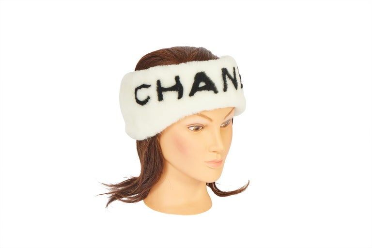 New Chanel Shearling Headband White with Box For Sale 2