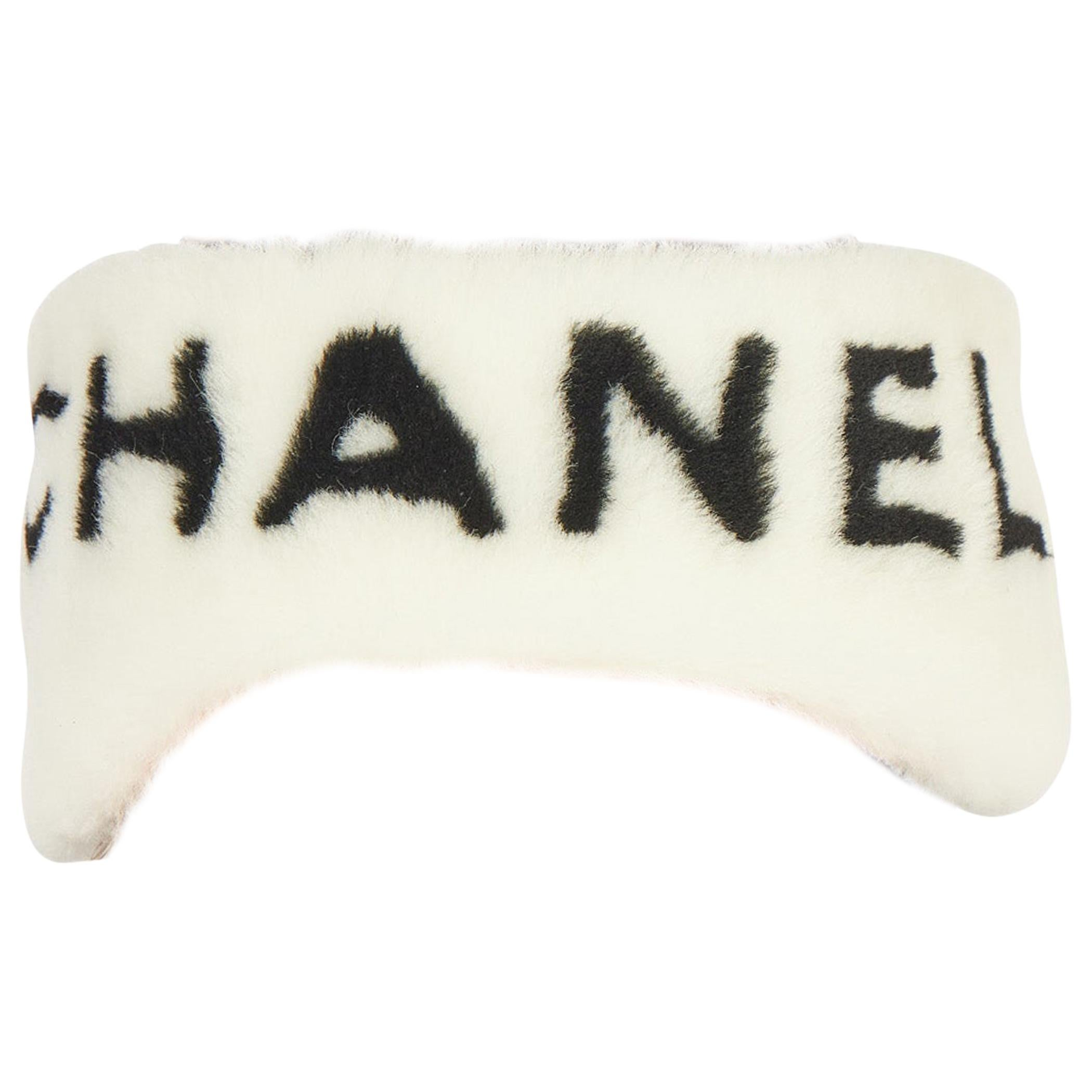 New Chanel Shearling Headband White with Box