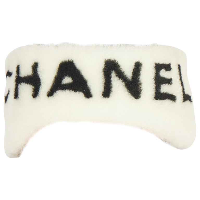 New Chanel Shearling Headband White with Box For Sale
