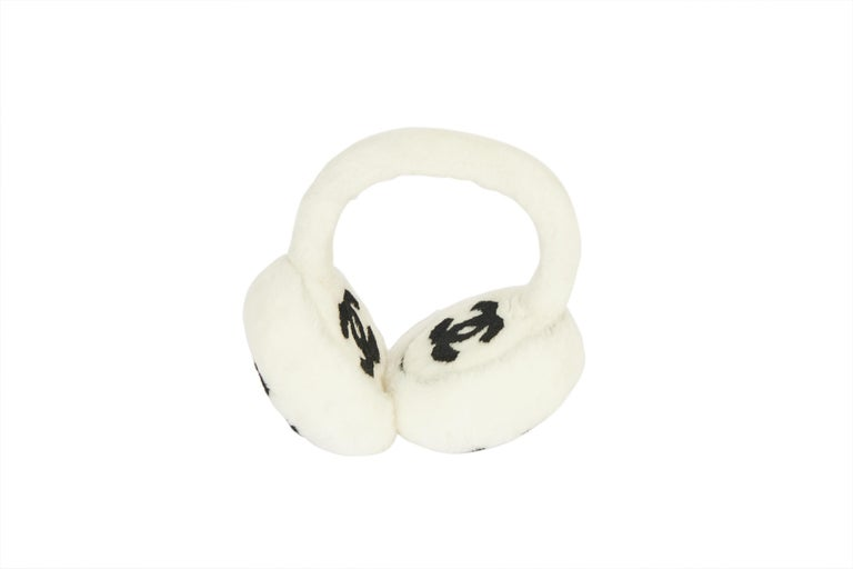 New Chanel Shearling White Black Logo Ear Muffs in Box In New Condition For Sale In West Hollywood, CA