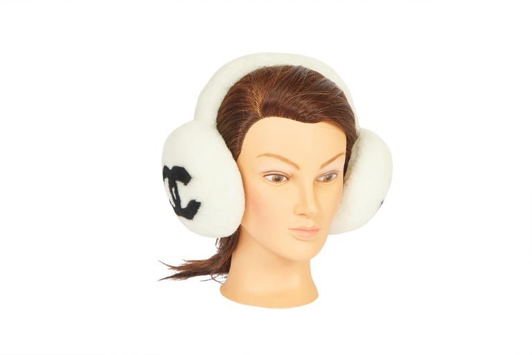 Women's New Chanel Shearling White Black Logo Ear Muffs in Box For Sale