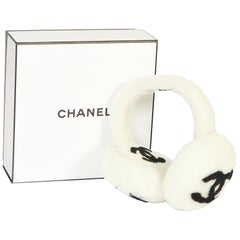 New Chanel Shearling White Black Logo Ear Muffs in Box