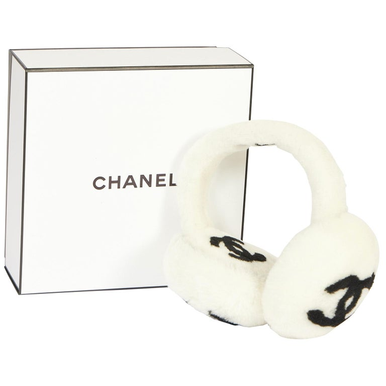 New Chanel Shearling White Black Logo Ear Muffs in Box For Sale