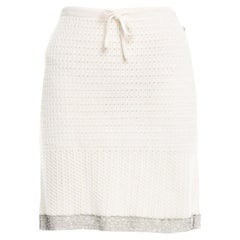 NEW Chanel Signature Drawstring Crochet Knit Skirt