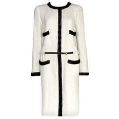 """NEW Chanel Signature Tweed White and Black Coat with """"CHANEL"""" Belt and CC Logo"""