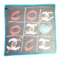 New Chanel Silk Chiffon Game Scarf