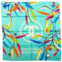 New Chanel Teal Logo Leaves Silk Scarves