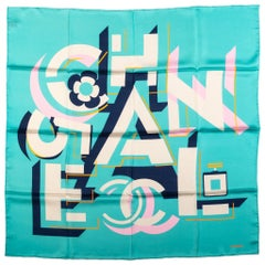 New Chanel Teal Scattered Letters Scarf