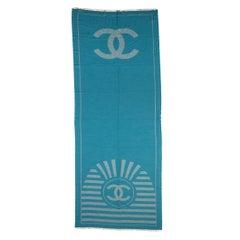 New Chanel Turquoise Cashmere Logo Shawl