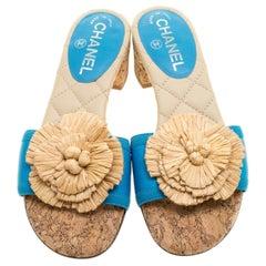 NEW Chanel Turquoise Cork Camellia Straw Details Slide Sandals Heels CC Logo