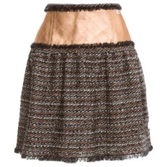 NEW Chanel Tweed & Quilted Leather Cambon Skirt