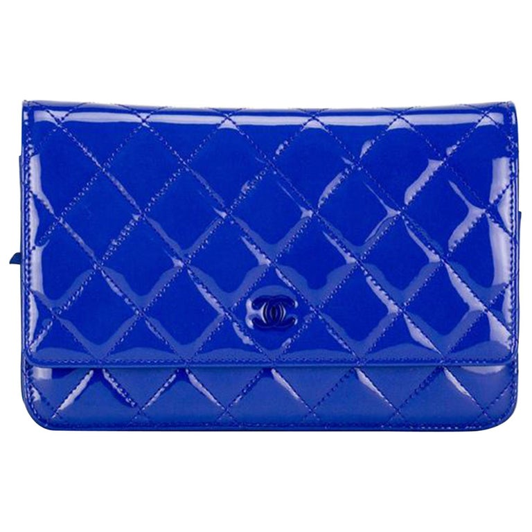 New Chanel Wallet on Chain Royal Woc Blue Patent Leather Cross Body Bag For Sale