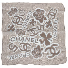 New Chanel White And Etoupe Silk Small Scarf