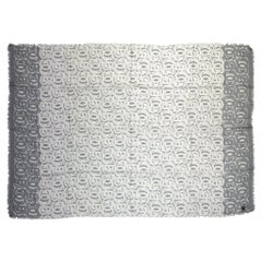 NEW Chanel White Grey Logo Cashmere CC Shawl
