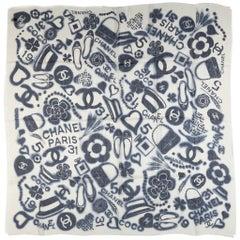 New Chanel White Symbols Cashmere Shawl