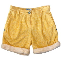 NEW Chanel Yellow Shorts Hot Pants Trousers with CC Logo Button
