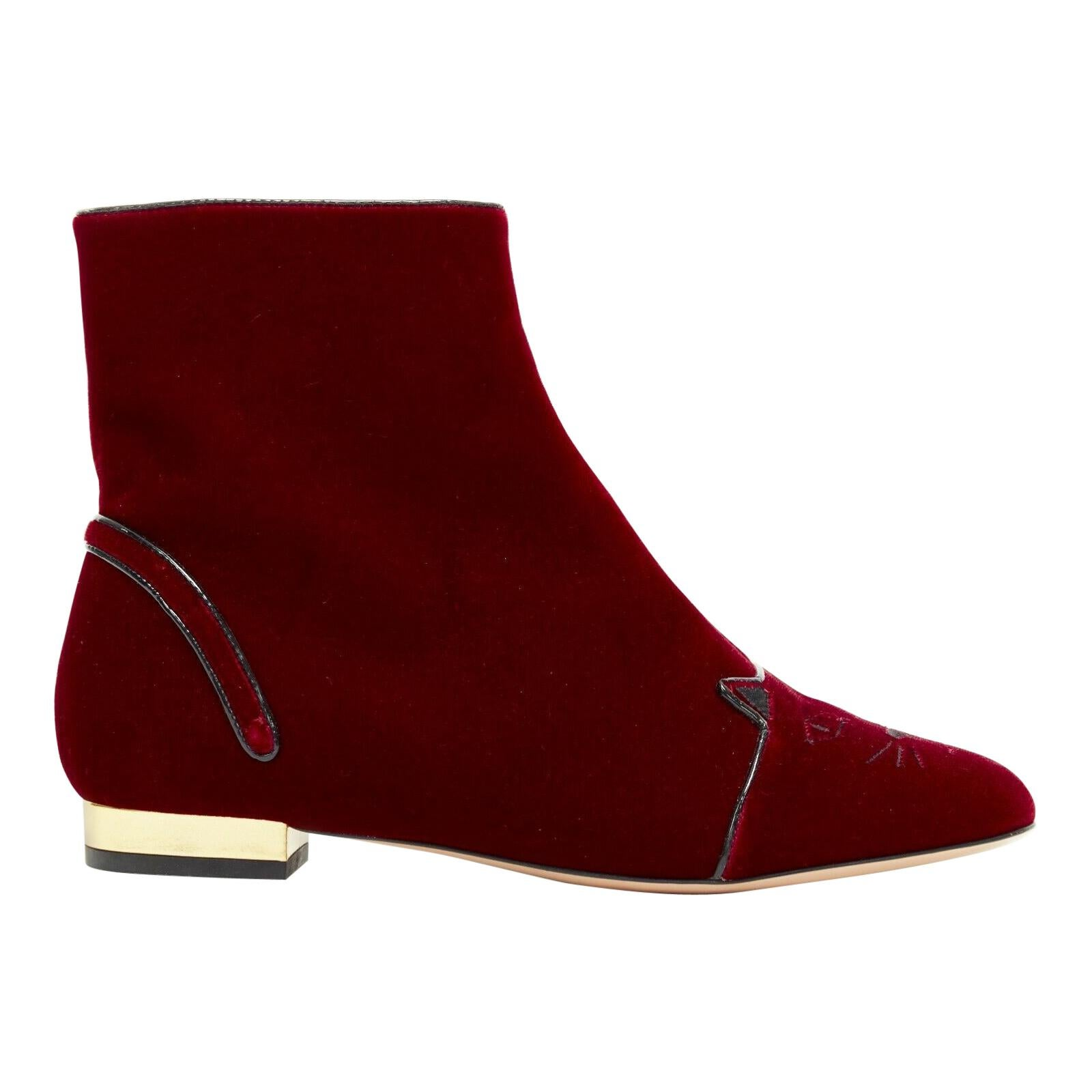 new CHARLOTTE OLYMPIA red Velvet Puss kitty embroidery flat ankle boot EU37.5