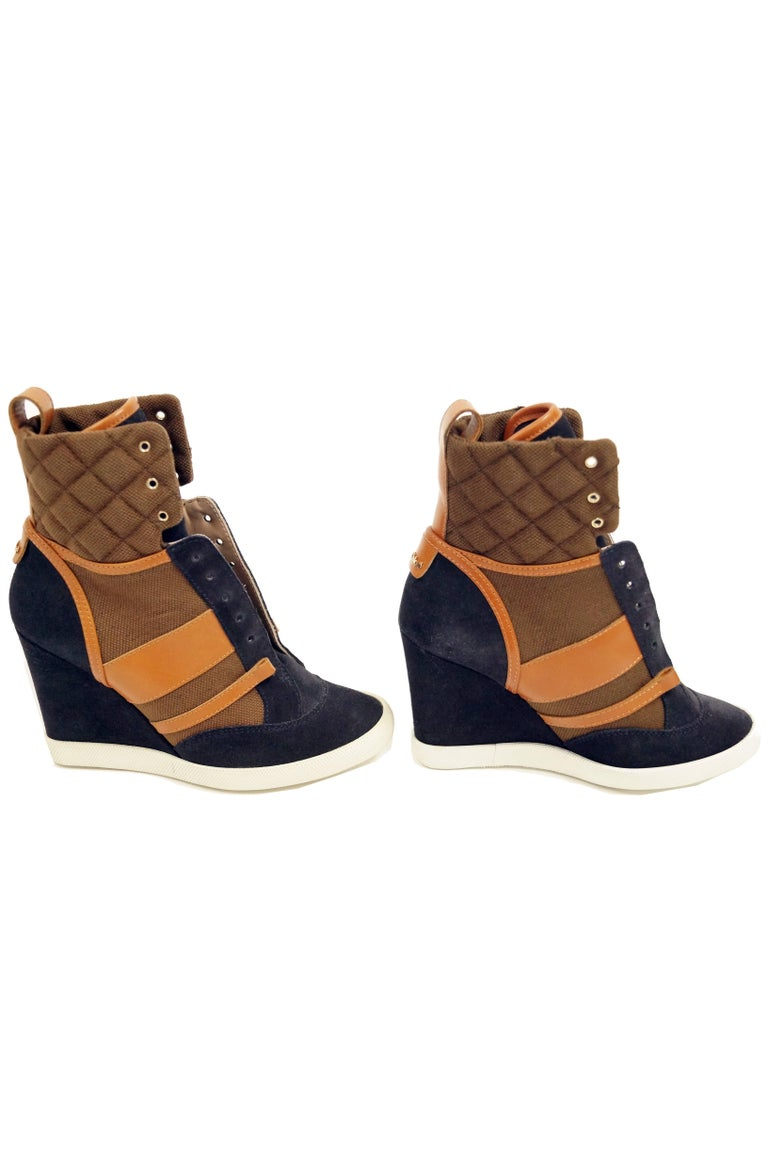 Black Chloé Blue and Brown Suede, Leather and Canvas Wedge Sneakers For Sale